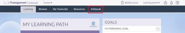 KidSpeak tab