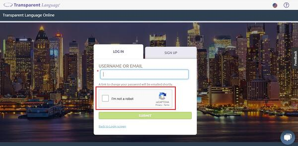 Password or username recovery checkbox