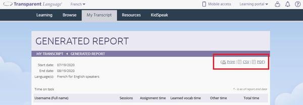 transcript report generation screen